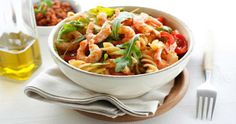 Prawn Pasta and spiced pepper sauce a low fat hearty meal!