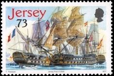 Stamp: Mars (Jersey) (Trafalgar) Mi:JE 1211,Yt:JE 1243 Stamp Collecting, Postage Stamps, Sailing Ships, Printables, Postcards, Men Casual, Military, Album, Beautiful