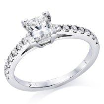 3/4 ct. Princess Cut Diamond Solitaire Engagement Ring in 14k White Gold