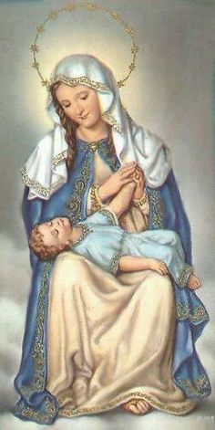 """Blessed Virgin Mary and Child Jesus. This reminds me of the """"La Pieta"""" image with Jesus in Mary's lap. Our Lady of Providence. Patroness of Puerto Rico. Catholic Prayers, Catholic Art, Religious Art, Religious Paintings, Roman Catholic, Blessed Mother Mary, Blessed Virgin Mary, Images Of Mary, Mama Mary"""