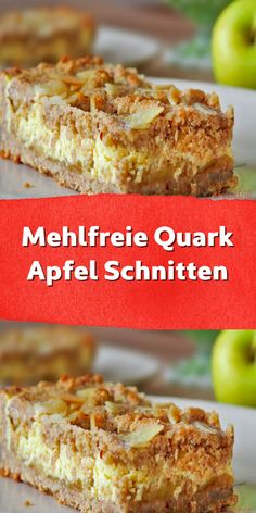 Mehlfreie Quark Apfel Schnitten Apple slices are a classic that everyone knows. The best come from o Vegan Breakfast Recipes, Healthy Dessert Recipes, Cookie Recipes, Gateaux Cake, Vegan Bread, Apple Slices, Apple Pie, Low Carb Desserts, Original Recipe