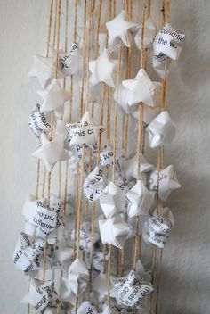 I just did something like this in my room with paper stars made out of newspaper strips