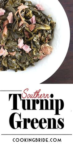 Southern Turnip Greens You've gotta try this Southern recipe for cooking turnip greens. Greens are slowly simmered with cider vinegar and ham until tender. It's down home cooking at it's finest. Side Dish Recipes, New Recipes, Cooking Recipes, Favorite Recipes, Side Dishes, Cooking Videos, Green Vegetable Recipes, Vegetable Sides, Recipes