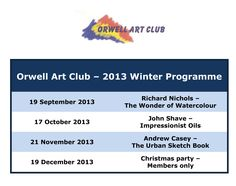 The Orwell Art Club meets on the 3rd Thursday of the month between September and June at the Co-op Education Centre, 11 Fore Street, Ipswich at 7.30pm.  Here are details of some of our previous programmes.