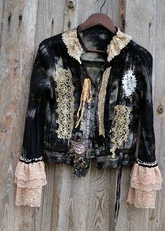 Shadows and light rustic bohemian blouse jacket von FleursBoheme