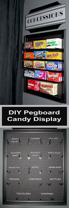 An easy DIY project using pegboard and chalkboard paint to make a fun display for candy in a media room or game room.