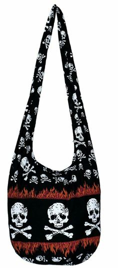 7dbd78c9fe All Best Thing Skull Bohemian Gothic Crossbody Purse Bag 36 Inch Length  Black Red Flame