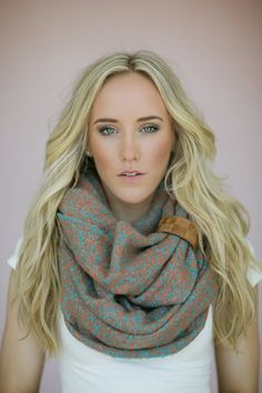 Cozy Knitted Infinity Scarf with Leather Band by ThreeBirdNest, $68.00