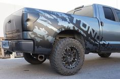 Toyota Tundra 4x4 Sport Vinyl Graphic Kits with a large variety of design to choose from. Easy Installation. Covers both sides of truck Will not take off paint or damage truck upon removal Decal is cut from solid Black Vinyl