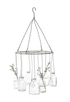 Hanging Bud Vase Mobile with Crystals