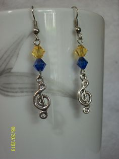 Treble Clef & Crystals Earrings by DysfunctionalAries on Etsy, $12.00