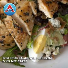 Irish Pub Salad with Chicken - 7 net carbs Atkins Recipes, Low Carb Recipes, Cooking Recipes, Healthy Recipes, Mexican Salad Recipes, Italian Salad Recipes, Low Carb Lunch, Low Carb Diet, Low Carb Salad Dressing