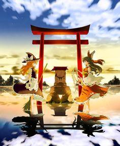 空と海の鏡界 reimu and marisa - Touhou