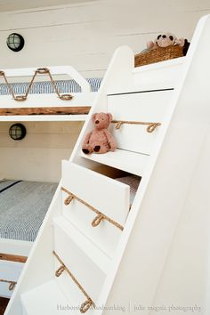 bunk bed - drawers built into the stairs