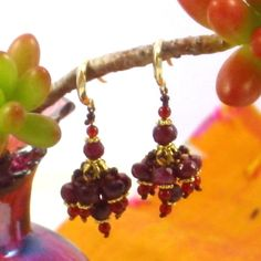 Delicate Ruby and Carnelian Indian style tassel earrings. A portion of proceeds from all Deity Jewels sales goes to saving the life of a shelter animal on Death Row.