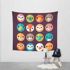 SMILEY FACES 1 Wall Tapestry by Daisy Beatrice | Society6