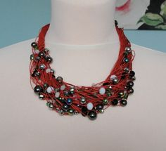 Crystal+Necklace+on+sienna,+waxed+linen,+49+cm+from+Jewelry&Hand+Made+by+DaWanda.com