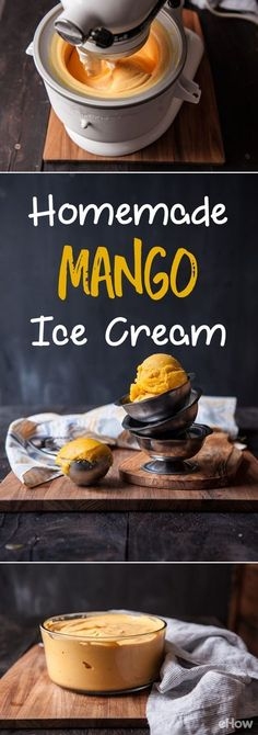 A super simple and delicious mango ice cream recipe that does not require any eggs or heated cream! Just a few minutes to get this in your ice cream maker! Gelato Ice Cream, Homemade Mango Ice Cream, Diy Ice Cream, Mango Cream, Homemade Ice Cream Machine, Yummy Ice Cream, Köstliche Desserts, Frozen Desserts, Gourmet