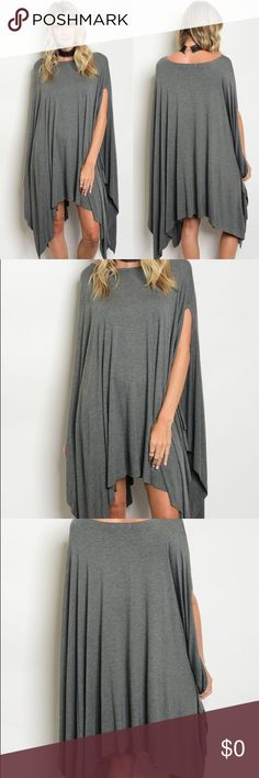 """Charcoal Draping Dress • All dresses are brand new straight from warehouse (and will be stored in a pet-free, smoke-free environment)  • Color: Charcoal Gray  • Available in Small, Medium, and Large  • Made in the USA  • 95% Rayon 5% Spandex (soft and stretchy)  • Measurements: L: 31"""" B: 30"""" W: 54""""  • Oversized fit Dresses"""