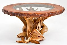 Sophisticated Rustic Dining Redwood & Juniper Glass Table - Features Redwood Top Inlaid with Glass & Live Edge - Shown Round - Item #DT00141 - Available Octagon - Custom Sizes - Smooth Edge Option - Each is unique - Every one a work of art!
