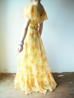 NEEEEEED!  Vintage 60's CITRUS SUNSHINE Floral Ruffle Chiffon Flowy Long Party Gown Maxi Dress by viralthreads on etsy.com