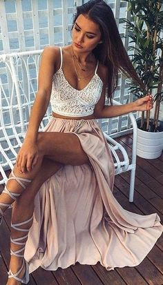 White Lace Crop + Nude Maxi Skirt Source