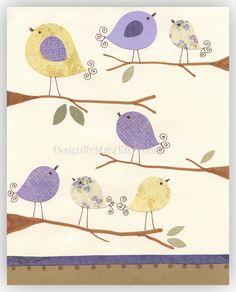 Kids Room Decor Nursery Art birds ..Talking lavender. $17.00, via Etsy.