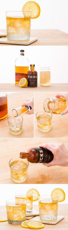 Use 1 oz. bourbon, ginger ale and lemon to mix up a Whiskey Ginger Cocktail.