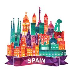 """Modern colorful skyline of Spain"" Stickers by stylebytara Map Painting, City Icon, Travel Icon, World Cities, Party Props, Instagram Highlight Icons, Stickers, Watercolor Landscape, Travel Posters"