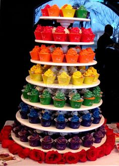 Rainbow Cupcake Wedding Tower by Piece of cake - Cupcakes  Buenos Aires - Argentina  www.yourpieceofcake.com