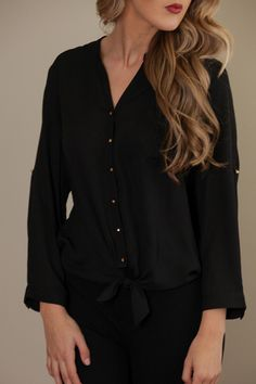 Black button-up top with tie front! All Tied Up Black Top