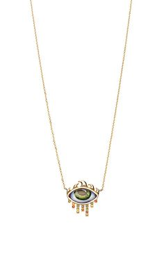 14K Gold Necklace with Green Eye by Lito