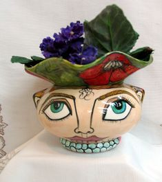 Flower Pot, Home Decor Impressionistic Face and Red Poppies, Pearl Jewelry Ceramic African Violet Planter 2 Piece Self Watering on Etsy by artistsloftppaquin1 on Etsy