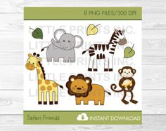 Jungle Animals Clipart Safari Animals Clip by LittlePrintsParties