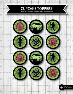 Printable Cupcake Toppers, Zombie party, Walking Dead, Zombie Cheer, Zombie Favor, Zombie Brain, Birthday, Bio hazard, INSTANT DOWNLOAD