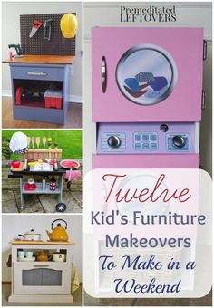 Kid's Furniture Makeovers- Play furniture for kids is a fun way to recycle old furniture. These tutorials include DIY kitchens, activity tables, and more.