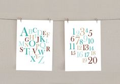 Alphabet & Numbers Nursery Decor Print Set - Teal blue and Brown, 5x7 (2). $18.00, via Etsy.