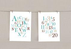 Alphabet & Numbers Nursery Decor Print Set - Teal blue and Brown, 5x7 (2). $18.00, via Etsy.
