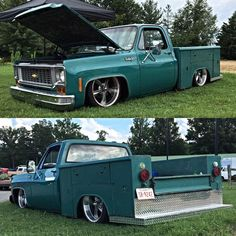Slammed early Squarebody with utility bed.