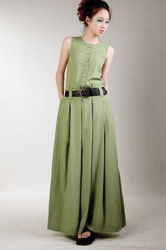 Зеленое льняное платье