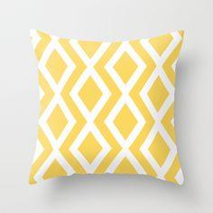 Yellow Diamond Throw Pillow