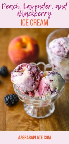 Peach, Lavender, and Blackberry Ice Cream is a flavor you'll want to dig into when dessert time rolls around! Peach, Lavender, and Blackberry Ice Cream is a tasty dessert you'll love. Gelato, Frozen Desserts, Frozen Treats, Blackberry Ice Cream, Lavender Ice Cream, Healthy Ice Cream, Popsicle Recipes, Easy, Homemade Ice Cream