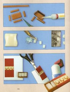 illustrations suggest ideas for miniature dollhouse-sized box of decorative soaps