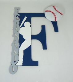 Personalized Baseball wall art letter by FactoryOfIdeas on Etsy, $26.20
