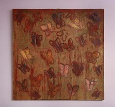 For Sale on - Glorious large-scale painting of butterflies in gold and red by American artist Hunt Slonem. The ground features the expressionist hatch work that is a Red Butterfly, American Artists, Abstract Expressionism, Wall Decor, Canvas, Butterflies, Scale, Painting, Gold