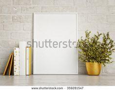 white mock up frame, hipster background, 3d rendering