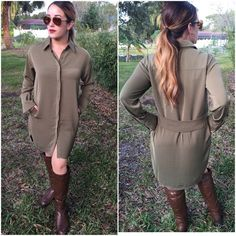 Shirt dress in olive Stylish long sleeve shirt dress has side pockets and back sash...looks great with leggings or alone. Please do not purchase this listing. Comment with size and I will create a new listing for you. Small (2/4) Medium (6/8) Large (10/12). Price is firm unless bundled. 100% polyester nice quality on this dress. Dresses Long Sleeve