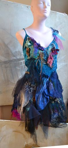 Elegant Unique Art To Wear Silk Top BLUE GIPSY With Gold/Violet Orchids Hippie Tribal Boho Tattered Gothic on Etsy, $328.00