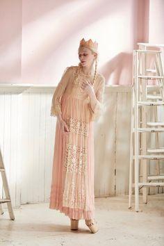 Dreamy pink & cream Dress – Midnight Dolls Vintage