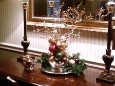 Christmas chandelier, buffet and dining table